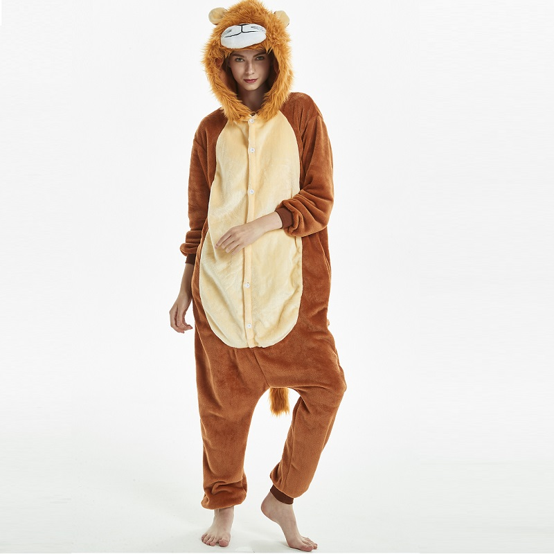 Kigurumi-Tiger-Lion-Long-Sleeve-Hooded-Onesie-Men-Women-Flannel-kigurumi-for-adults-Winter-Kegurumi-One