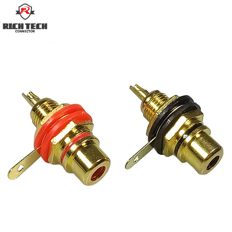 8pcs/4pairs New Gold Plated Binding Post Female RCA Phono Jack Panel Mount Amplifier Chassis Socket Plug Adapter Connector