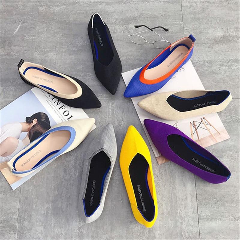 2019 Women's Flat Shoes Ballet Shoes Breathable Knit Pointed Shoes Moccasin Mixed Color Women's Soft Shoes Women Zapatos De 5