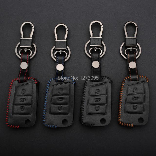 Cosida a mano funda de cuero llave del coche para volkswagen/vw golf 7 mk7 3 botones plegables remoto llavero car styling accesorios