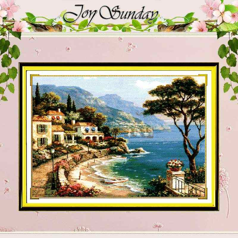 Love Harbor Counted 11CT printed 14CT Unfinished Cross Stitch landscape Cross Stitch Sets for Embroidery Home Decor Needlework