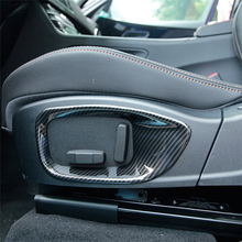 Carbon Fiber Style Seat Adjustment Frame Decoration Cover Trim ABS 2pcs For Jaguar XE X760 F-Pace X761 XF X260 2016-2017 carbon fiber style center console gear shift panel decoration cover trim for jaguar xe x760 f pace x761 2016 18 abs modified