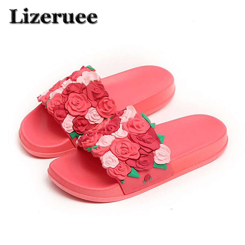 New fashion womens cool slippers 3D three-dimensional rose beach one word slippers women thick bottom comfort Non-slip ME119