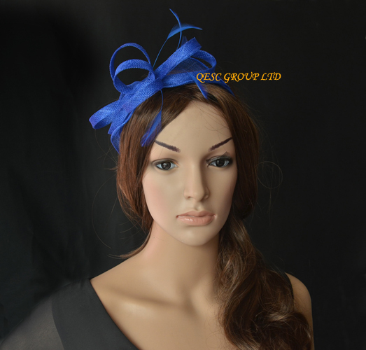 2018 NEW Royal Blue Sinamay Feather Fascinator Hat For Ascot RacesMelbourne CupKentucky Derby Wedding PartyFREE SHIPPING In Hair Accessories From Womens