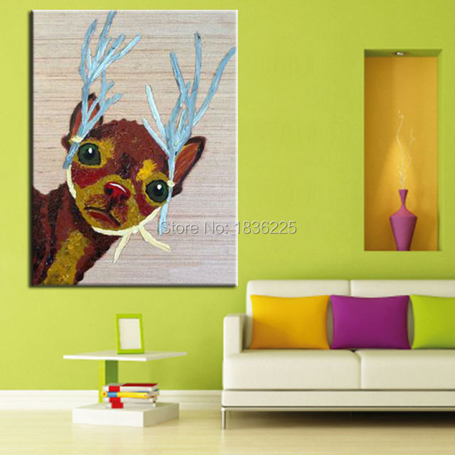China Painter Home Decor Wholesale Modern House Goods Wall Art Animal Deer Abstract Painting For