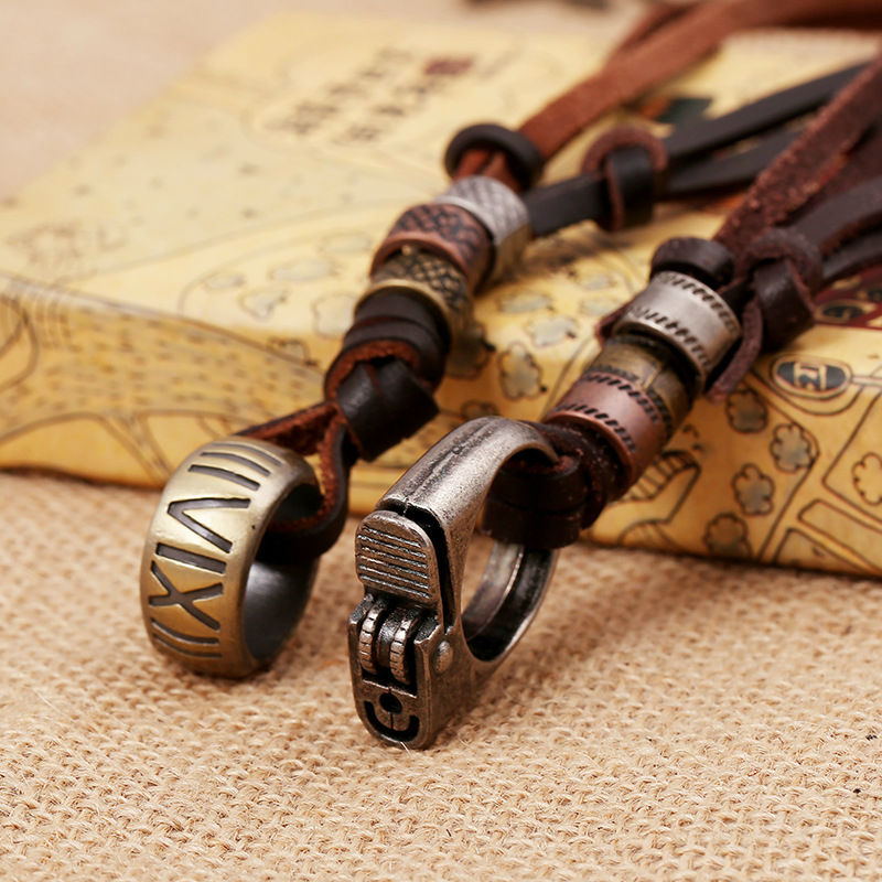 Vintage Steampunk Accessories Roman Number and Lighter Necklace Genuine Leather Pendent Jewelry Chain For Men and Women LKN0041