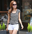 2016 camisa de las mujeres camisas ropa de moda femenina de corea rayas vetement femme verano tank tops roupas feminina blusas