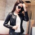 Short Design Water Washed PU Leather Coat Female 2015 Motorcycle Leather Jacket Women Stripe Spring And Autumn Coat