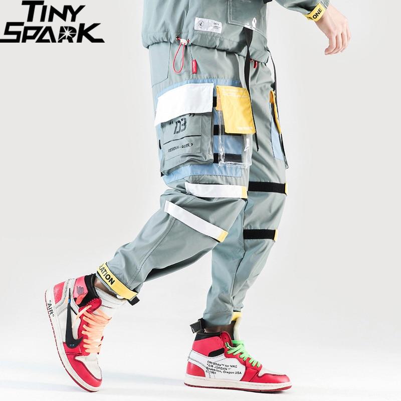2019 Harajuku Pantaloni Sportivi Pantaloni Uomo Streetwear Hip hip Cargo Pant Tasche Estate di Modo Sweatpant Pantaloni Pista Pantaloni A Vita Bassa Harem Pant-in Pantaloni cargo da Abbigliamento da uomo su  Gruppo 1