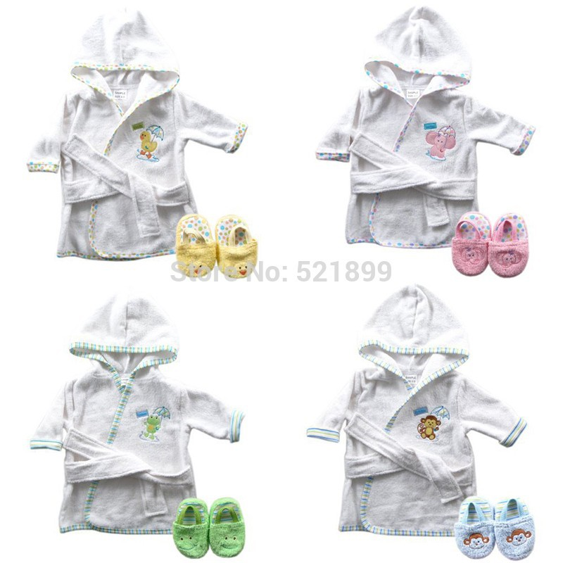 Luvable Friends 6 Designs Hooded Animal Modeling Baby Bathrobe with Baby Shoes 0-9 M Infant Bath Towels Baby Sleepwear & Robes (7)