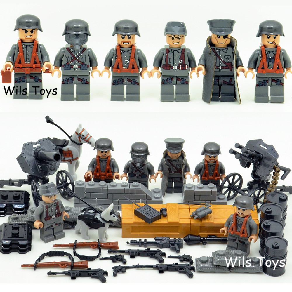 6pcs German Army MILITARY Weapons SWAT Forces Navy Seals Team Soldiers Building Blocks Bricks Figures Gifts Toys Boys Children 6pcs swat special forces police the wraith assault cs with motorcycles weapons figures building blocks bricks toys for kids