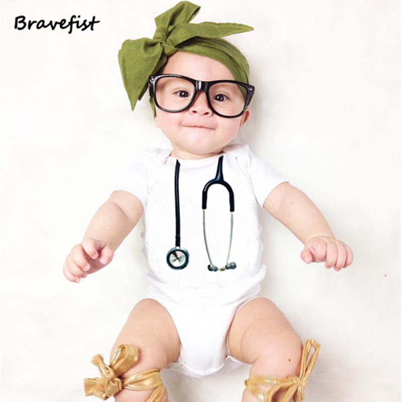 White Baby Romper Summer Children Jumpsuit The Doctors Receiver Pattern Onesies Short Sleeve Round Neck Baby Outwear Outfits