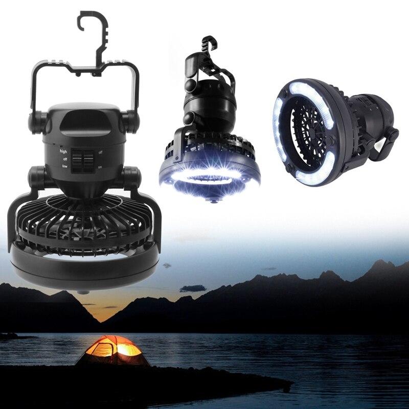 2 en 1 Camping ventilador de techo luz colgante tienda lámpara linterna al aire libre 18 LED lámpara-L057 nuevo caliente