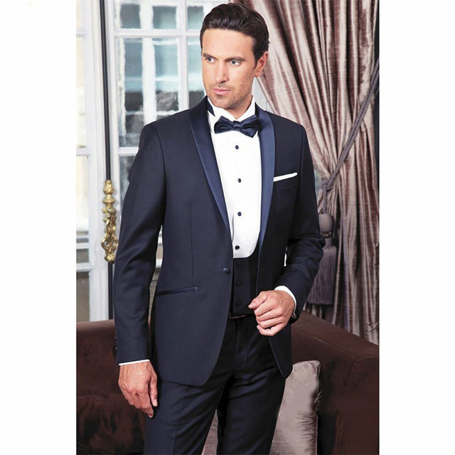2018 Brand New Groomsmen Shawl Satin Lapel Groom Tuxedos Men Suits ...