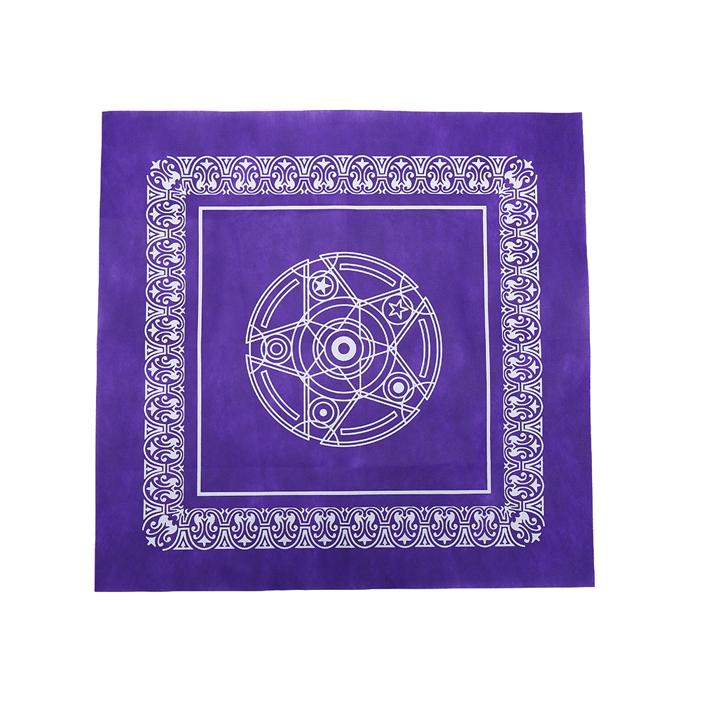 49x49cm Non-woven Board Game Textiles Tarot Table Cover Playing Cards Purple Pentacle Tarot Game Tablecloth table cover household sketch leaf pattern cozy tablecloth