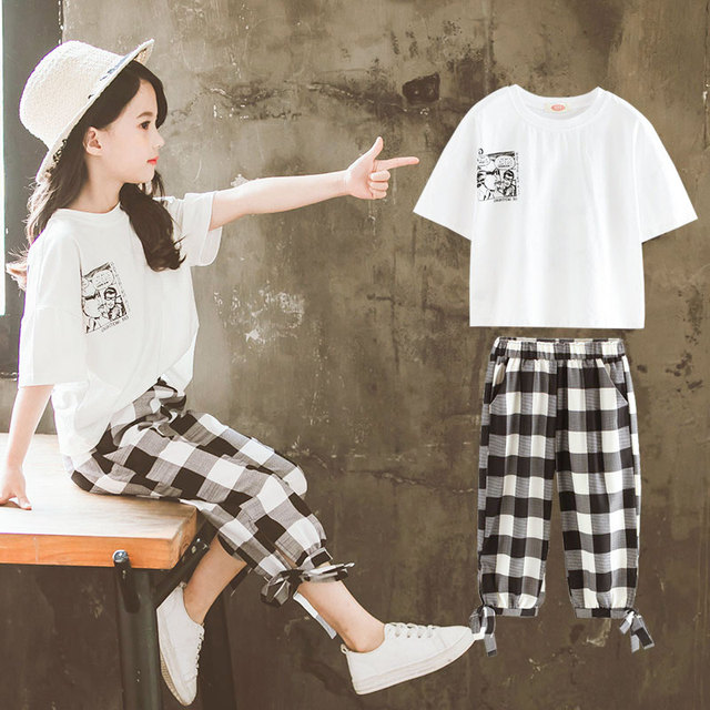2019 Summer Girls Clothing Sets Girls Short Sleeve T-shirt+Casual Pants Teen Girl Clothes 8 10 12 14 Years back to school outfit 1