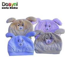 Doayni Baby Newborn Hats 100% Cotton Comfortable with Cartoon Bear Baby Kids Caps Pink gray yellow blue M L for 0 to 12M(China)