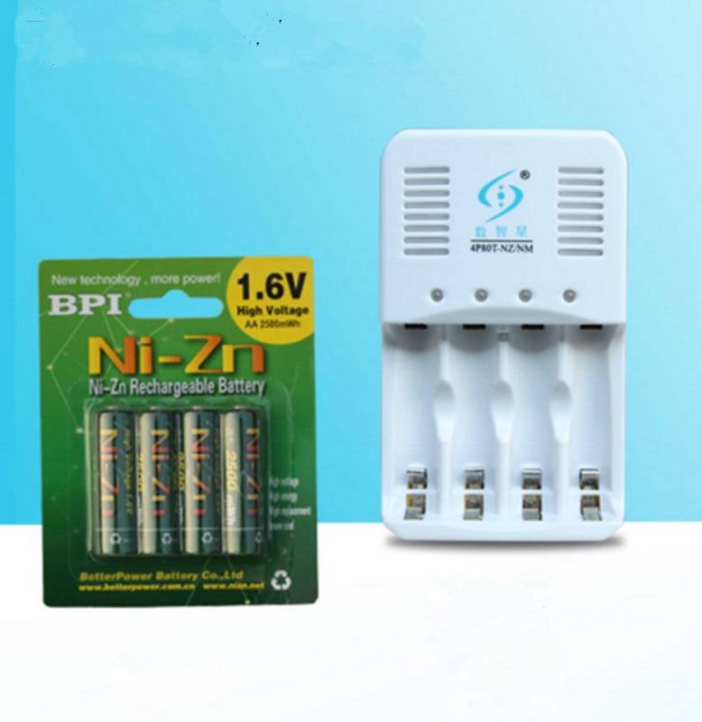 4 pièces NiZn ni-zn 1.6 V AA 2500mWh batterie Rechargeable + chargeur intelligent NiZn, beaucoup plus puissant et plus fort que la batterie Ni-MH