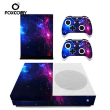 Cover Console in vinile personalizzata città stellata colorata per Controller adesivi Skin Microsoft Xbox One SLIM protettivo per XBOXONE S