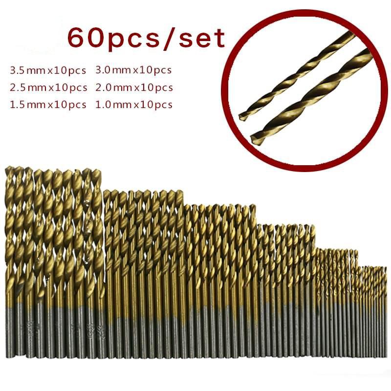 60PCS Twist Drill Bit Sets Titanium Coated HSS High Speed Steel Drill Bits Tools Power Tools For Wood Drill 1/1.5/2/2.5/3/3.5 Mm