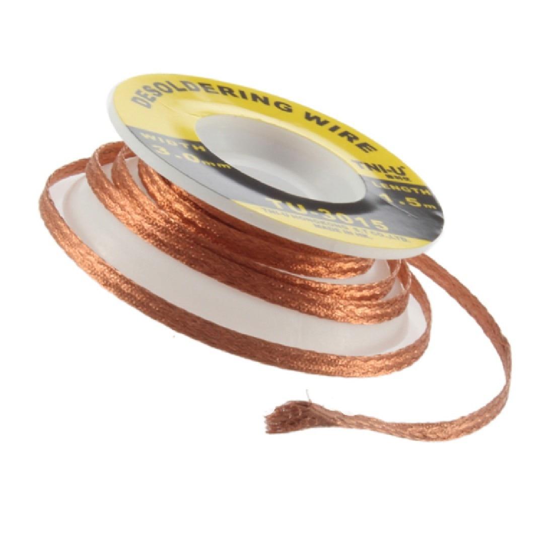 1.5M 3.0mm BGA Desoldering Wire Braid Solder Remover Wick Soldering Accessory Metal Color Tin