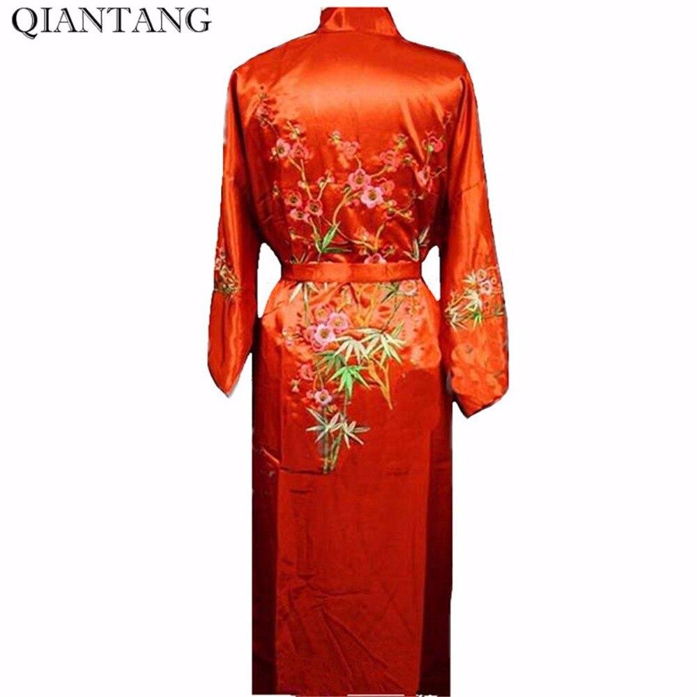 Red Chinese Womens Satin Robe Bath Gown Hot Sale Spring Autumn Embroidery Kimono Nightwear Flower Size S M L XL XXL XXXL ZHS01B