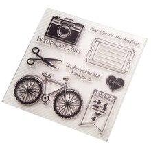Sello de silicona transparente de bicicleta de la nueva cámara de la vendimia 2018 para sello de álbum para recortes de fotos sello claro decorativo