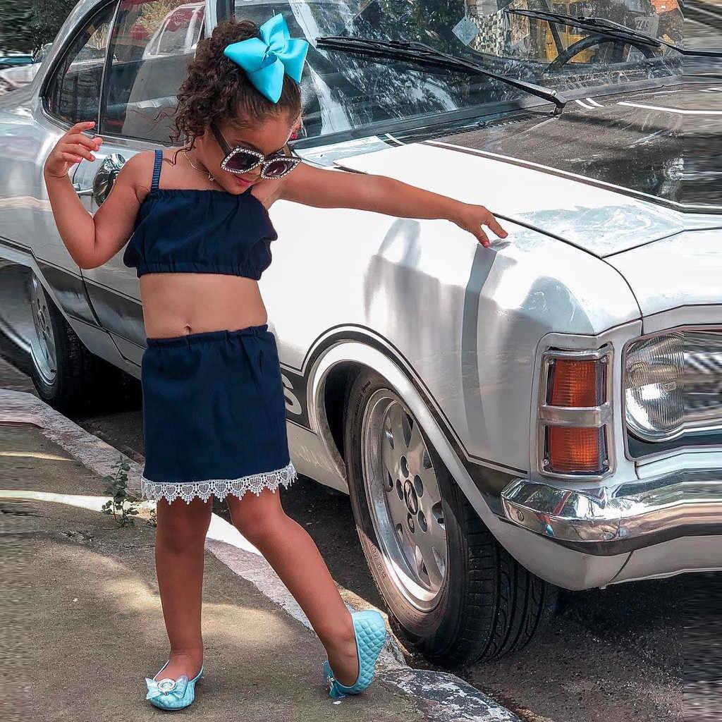 Maluch dziewczynek odzież pasek Crop Boob Tube topy elastyczny pas koronki spódnice stroje dla dzieci zestawy dla dzieci dziewczyna lato kostiumy kąpielowe ubrania