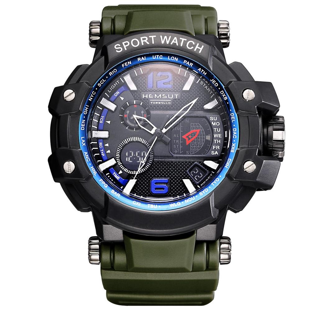 New Green Rubber Wristband Digital Sport Men Watch Waterproof LED Back light Display Clock Men Original Box