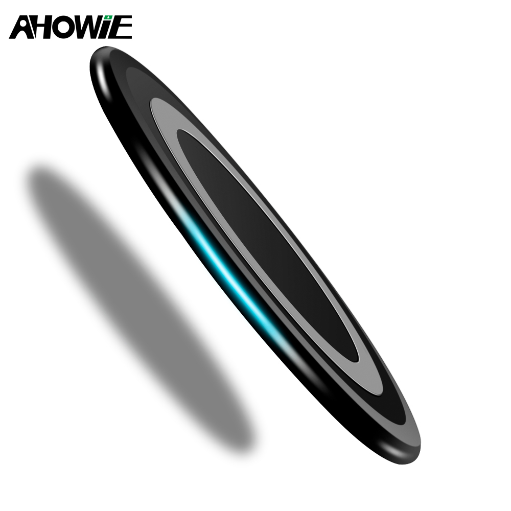 Ahowie 10W Qi Portable Ultra Thin Wireless Charger For Samsung Galaxy S8 Waterproof Fast Wireless Charging Pad For IPhone 8 X XS