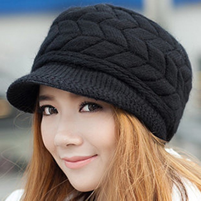 New 2017 Winter Women Hat Luxury Knitted Hats Female Soft High Elastic Warm Caps Beanies Headgear Girl Cap Solid Color DP862352