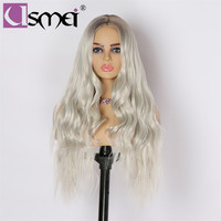 USMEI Long wavy wig Synthetic hair wigs for women Heat Resistant Ombre brown Root Gray white hair high density wig cosplay hair