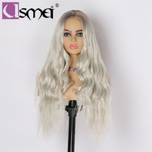 USMEI Long wavy wig Synthetic hair wigs for women Heat Resistant Ombre brown Root Gray white high density cosplay