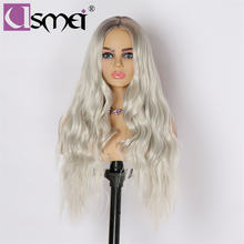 Usmei длинный волнистый парик парики из синтетических волос