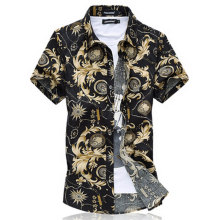 Men camisa Cotton Short Sleeve Shirt Summer beach floral mens dress shirt camisa M~6XL