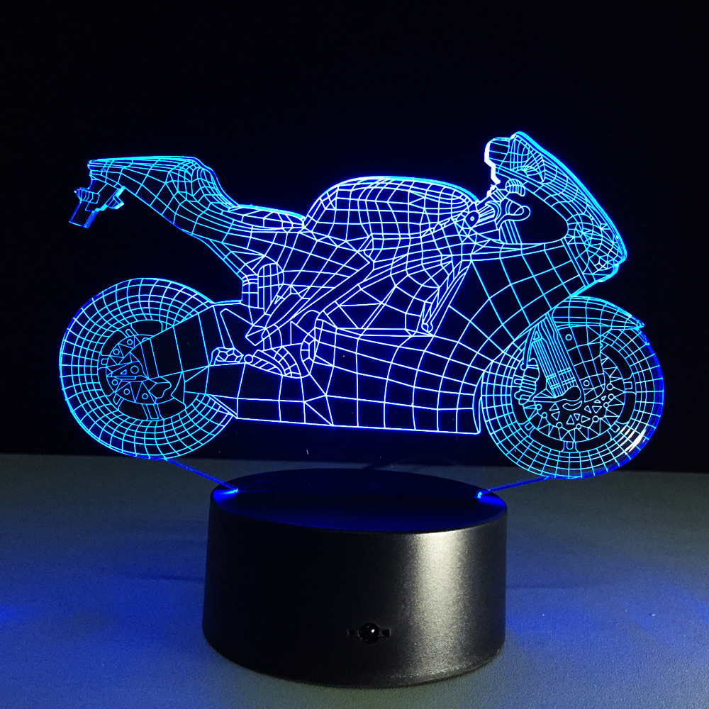 Novelty toy motorcycle Shape lamp 7 color changing visual illusion LED light motorcycle  ...