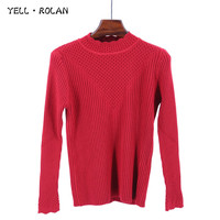 YELL ROLAN 2017 Women S Knitting Red Sweater Long Sleeve Solid Basic Jumper Turtleneck Simplee Elegangt