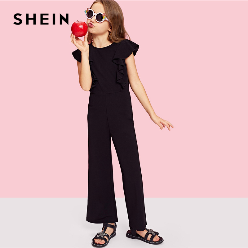 SHEIN Kiddie Black Ruffle Trim Zip Back Knot Button Wide Leg Casual Girls Jumpsuit 2019 Spring Elegant Cap Sleeve Kids Jumpsuits shein kiddie grey solid caged neck marled knitted skinny casual jumpsuit girls 2019 spring sleeveless criss cross kids jumpsuits