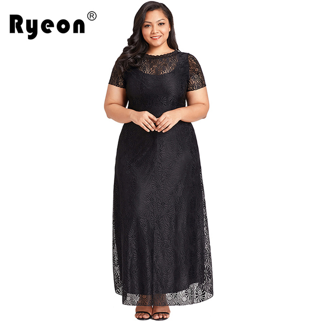 4c2c8aa6ecf6 Ryeon Summer Dress Lace Maxi Dress Plus Size Women Long Sexy Black White  Floor Length Lace Neck Pocket Party Dress Big Sizes 4xl
