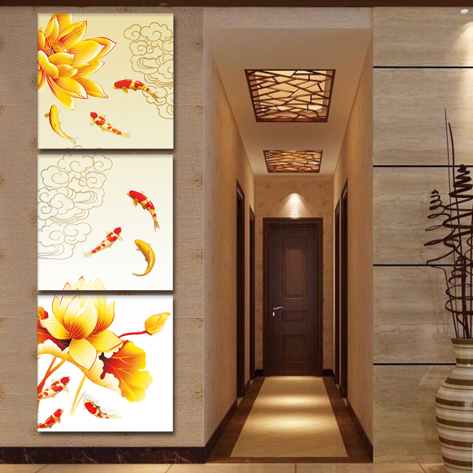 Chinese Canvas Art Koi Fish Lotus Goldand Oil Painting Feng Shui Wall Pictures For Living Room Giveaways Sticker