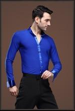 คนใหม่เต้นรำบอลรูมท็อปส์แขนยาวบุรุษเต้นรำละตินเสื้อปก/ปกการปฏิบัติ/การแสดงเต้นรำสวมท็อปส์สีฟ้า