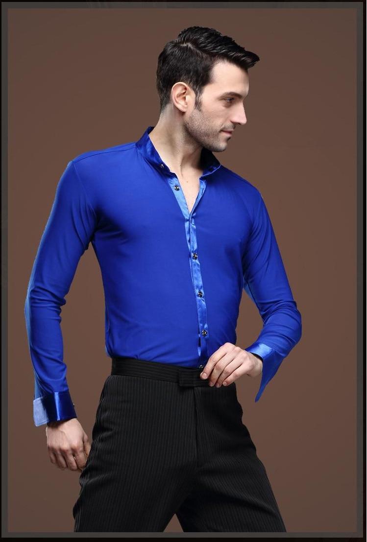 New Man Ballroom Dance Tops Long Sleeve Mens Latin Dance Shirts Lapel/Collar Practice/Performance Dance Wear Tops Blue Color