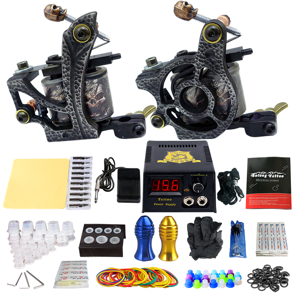 Complete Tattoo Machine Kit Set 2 Coils Guns Sets Grips Body Arts Supplies Needles Tips Tattoo Beginner Kits TK202-24 usa dispatch complete beginner tattoo kit 3 machines guns lcd power needles tips grips set equipment supplies