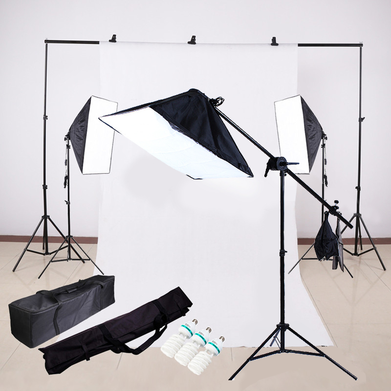 Photo Video Lighting Kit Photography light stand + Softbox + Bulb + boom arm+Backdrop Support Cross Bar+Backdrop+Clamp PSK5F ashanks photography 2 in 1 3m top light stand as boom arm stand large lamp holder kits for photo studio light softbox load 8kg