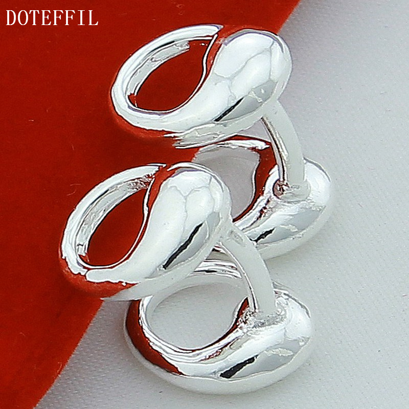 DOTEFFIL 925 Sterling Silver Water Drop Solid Silver Cufflinks For Men Women Wedding Engagement Party Jewelry-3