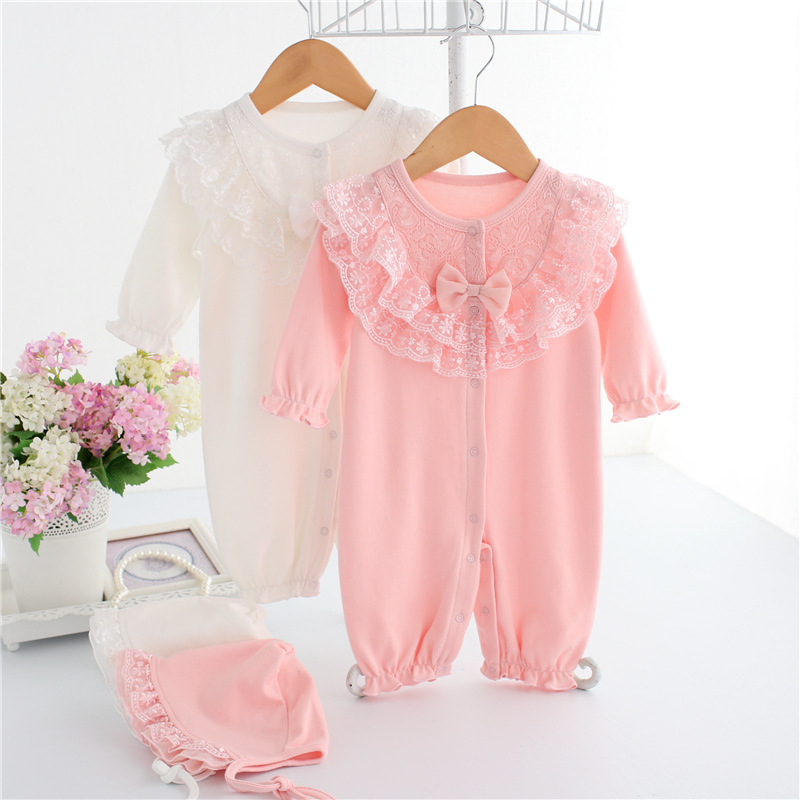 Siyubebe Newborn Baby Romper Set Princess Style Cotton Lace Long Sleeve Ropa Baby Girl Rompers Infant Girls Jumpsuit Clothes Hat autumn winter baby girl rompers striped cute infant jumpsuit ropa long sleeve thicken cotton girl romper hat toddler clothes