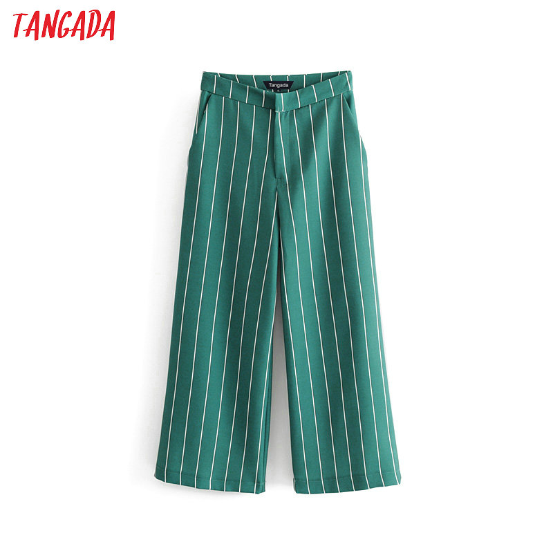 Tangada summer 2019 woman high waist   wide     leg     pants   green stripe retro female streetwear casual trousers mujer DA49