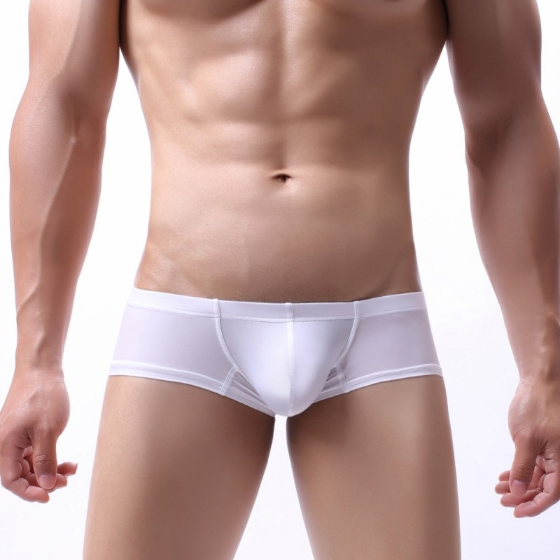 Sexy Underwear Men Boxers Shorts Ice Silk Panties Man Solid Breathable Low Waist U Convex Pouch Underpants Cueca Masculinas S-XL