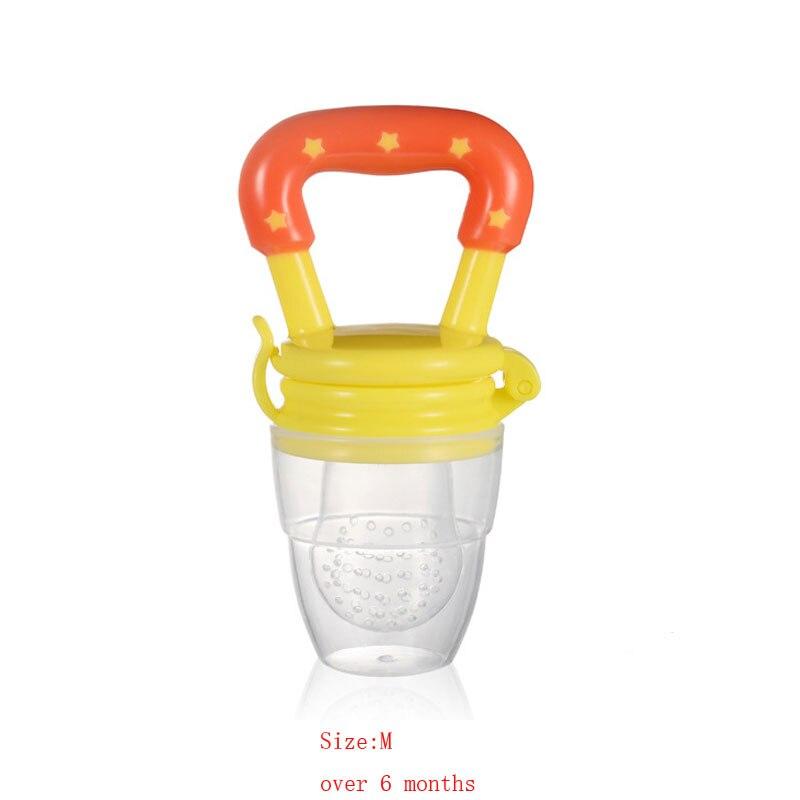 Силиконовый детский успокоитель младенцев Соска-пустышка детские соски Фидер для еда, фрукты пустышки для младенцев для кормления с соской - Цвет: Orange M
