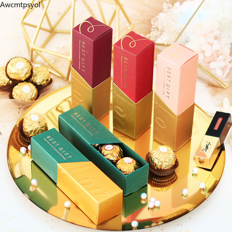 New Creative Lipstick Candy Box Wedding Favor Gift Box Baby Shower Birthday Party Supplies Decoration Package Gift Bags